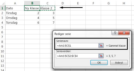 Hvis du vil velge å bruke en annen celle som forklaringsnavnet, klikker du i tekstboksen Serienavn.