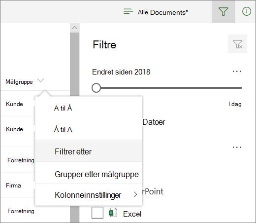 Klikk Filtrer etter for å åpne Filter-panelet