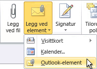 Kommandoen Legg ved Outlook-element på båndet