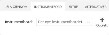 Nytt instrumentbord i listen over instrumentbord
