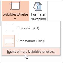 Klikk Egendefinert lysbildestørrelse