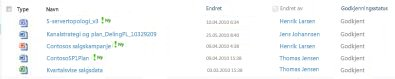 Dokumentbibliotek som inneholder en avvist fil og noen godkjente filer