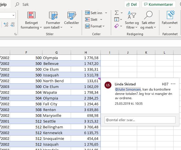 Skjermbilde av å skrive en kommentar i Excel