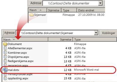 Innholdet i Skjemaer-mappen i et dokumentbibliotek