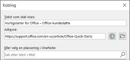 Skjermbilde av dialogboksen Kobling i OneNote. Inneholder to felt som skal fylles ut: Tekst som skal vises, og adresse.