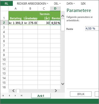 Angivelse av en parameter i ruten bruker den i celle D2