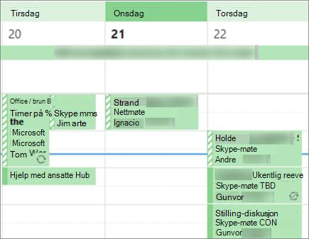 Hvordan kalenderen ser ut som en bruker når du deler den med begrensede detaljer.