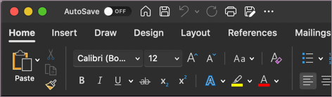 Mørkt tema for Word i macOS