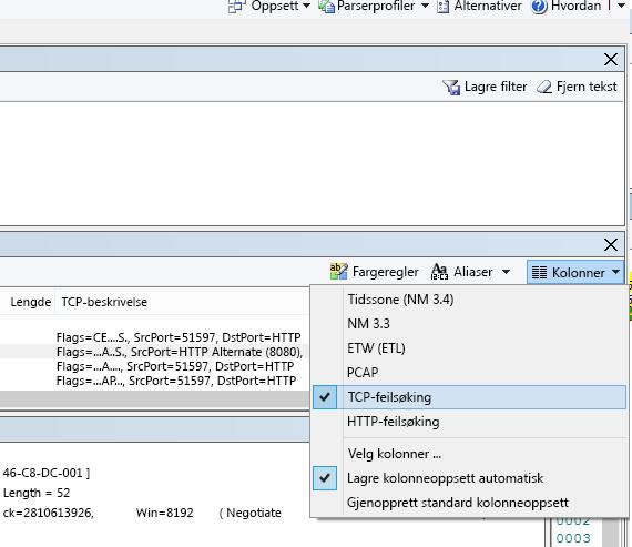 Hvor du finner rullegardinmenyen Kolonner for TCP-feilsøkingsalternativet (øverst på rammesammendraget).