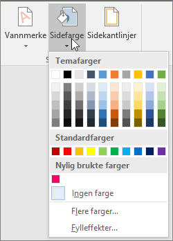 Alternativene for Sidefarge vises