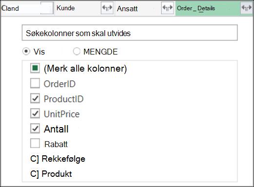 Utvide Ordre_Detaljer-tabellkoblingen