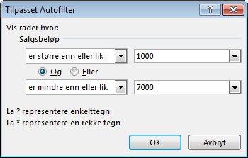 Dialogboksen Tilpasset Autofilter