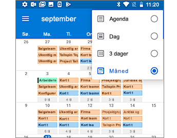 Kalender med månedsvisning