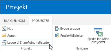 Legg til knappen for SharePoint-sider på båndet i prosjektsenteret