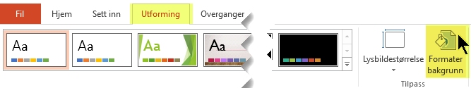 Du finner Formater bakgrunn-knappen på Utforming-fanen på båndet i PowerPoint