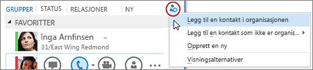 Klikk knappen Legg til en kontakt i hovedvinduet i Lync
