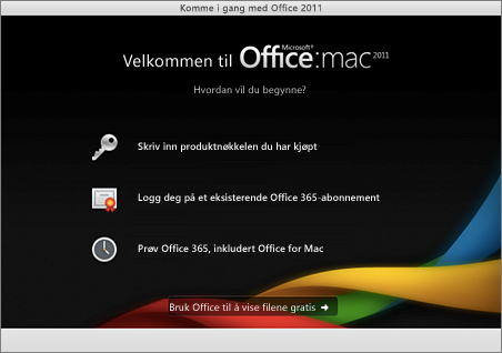Skjermbilde av velkomstsiden for Office for Mac 2011