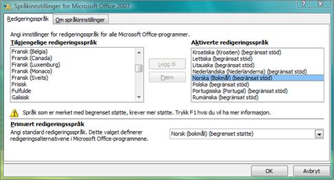 Språkinnstillinger i Office 2007