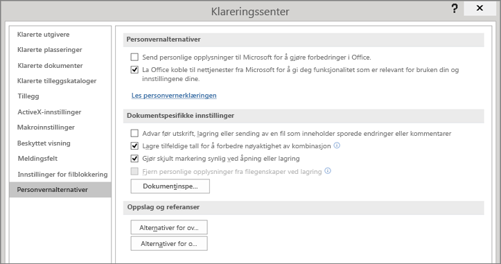 Personvernalternativene vises i klareringssenteret for Office