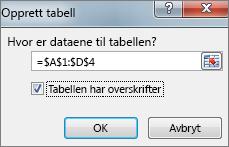 Opprett tabell