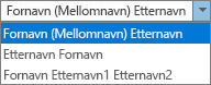 Alternativer for Personer i Outlook som viser listealternativer for sortering etter fullt navn.