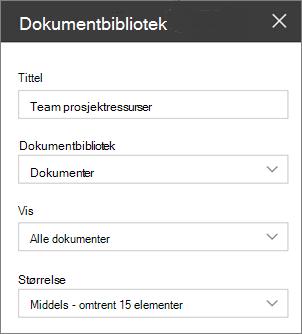 Innstillinger for webdel dokumentbibliotek