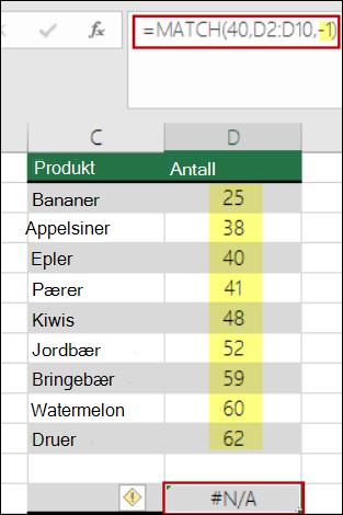 sammenligne-funksjonen i Excel
