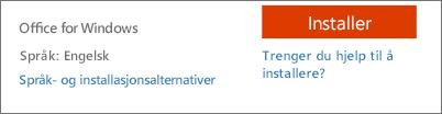 Språk- og installasjonsalternativer for Office 365
