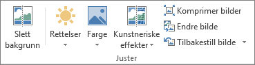 Alternativer for bilder i Juster-gruppen