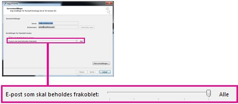 Glidebryter for e-postlagringsmengde i frakoblet modus