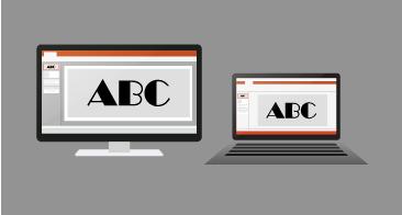 Den samme presentasjonen gjengis og ser identisk ut på en PC og en Mac