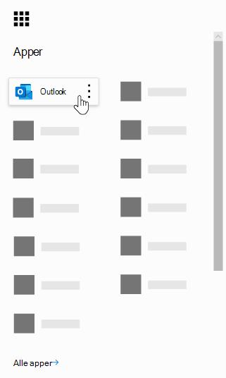 Startprogrammet for apper i Office 365 med Outlook-appen uthevet.