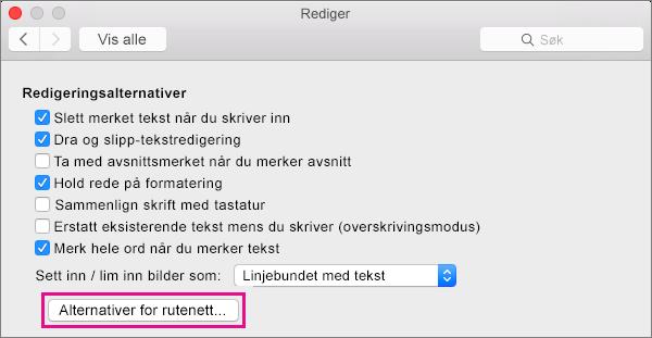 Klikk Alternativer for rutenett for å angi fest-til-alternativene for objekter i Utskriftsoppsett-visningen.