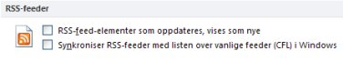 Avmerkingsboksen for synkronisering av RSS-feeder med listen over vanlige feeder