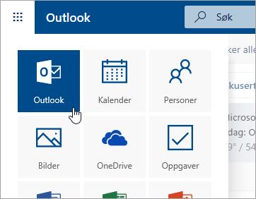 Et skjermbilde av Outlook-flisen i startprogrammet for apper