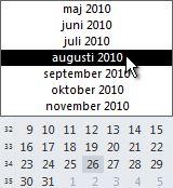 Datovelger med valg av måned