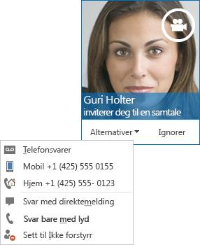 Skjermbilde av videosamtalevarsel med kontaktens bilde øverst i hjørnet