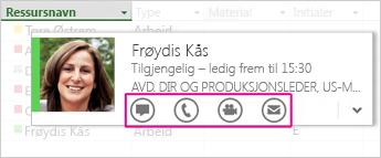 Lync-kontaktkort i Project 2013