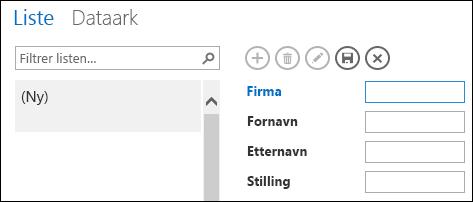 Legge til en mappe i en listevisning