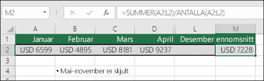 Bruke Summer med andre funksjoner.  Formel i cellM2 er = SUMMER (a2: L2)/COUNTA (a2: L2).  Obs! kolonner kan-november være skjult for klarhet.