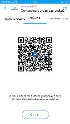 Skjerm bilde av QR-kode-siden i Kaizala