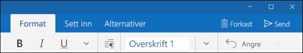 Formater-fanen i Outlook E-post-appen