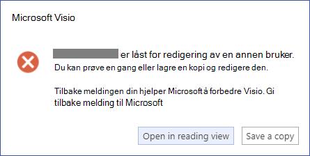 En meldings boks som beskriver en låse feil.