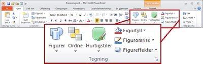 Tegning-gruppen på Hjem-fanen på PowerPoint 2010-båndet.
