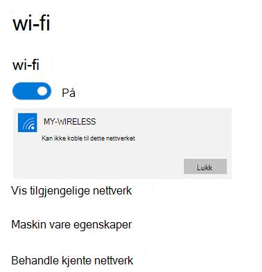 Kan ikke koble til nettverket