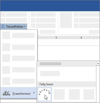 Alternativet for å transformere tekst for å følge en bane