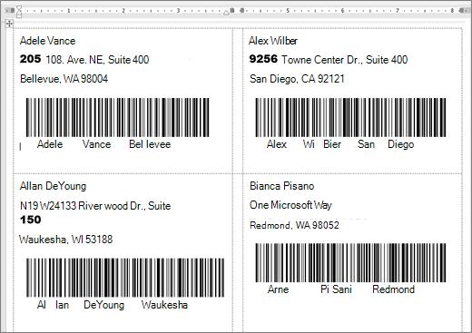 Bilde av enkelte etiketter med adresse og strek koder