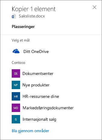 Skjermbilde av Velger et mål, når noen kopierer filer fra OneDrive for Business til et SharePoint-område.