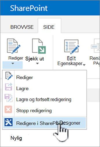 Velge SharePoint Designer fra Rediger-menyen