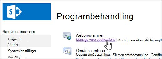 Åpne innstillinger for webprogram